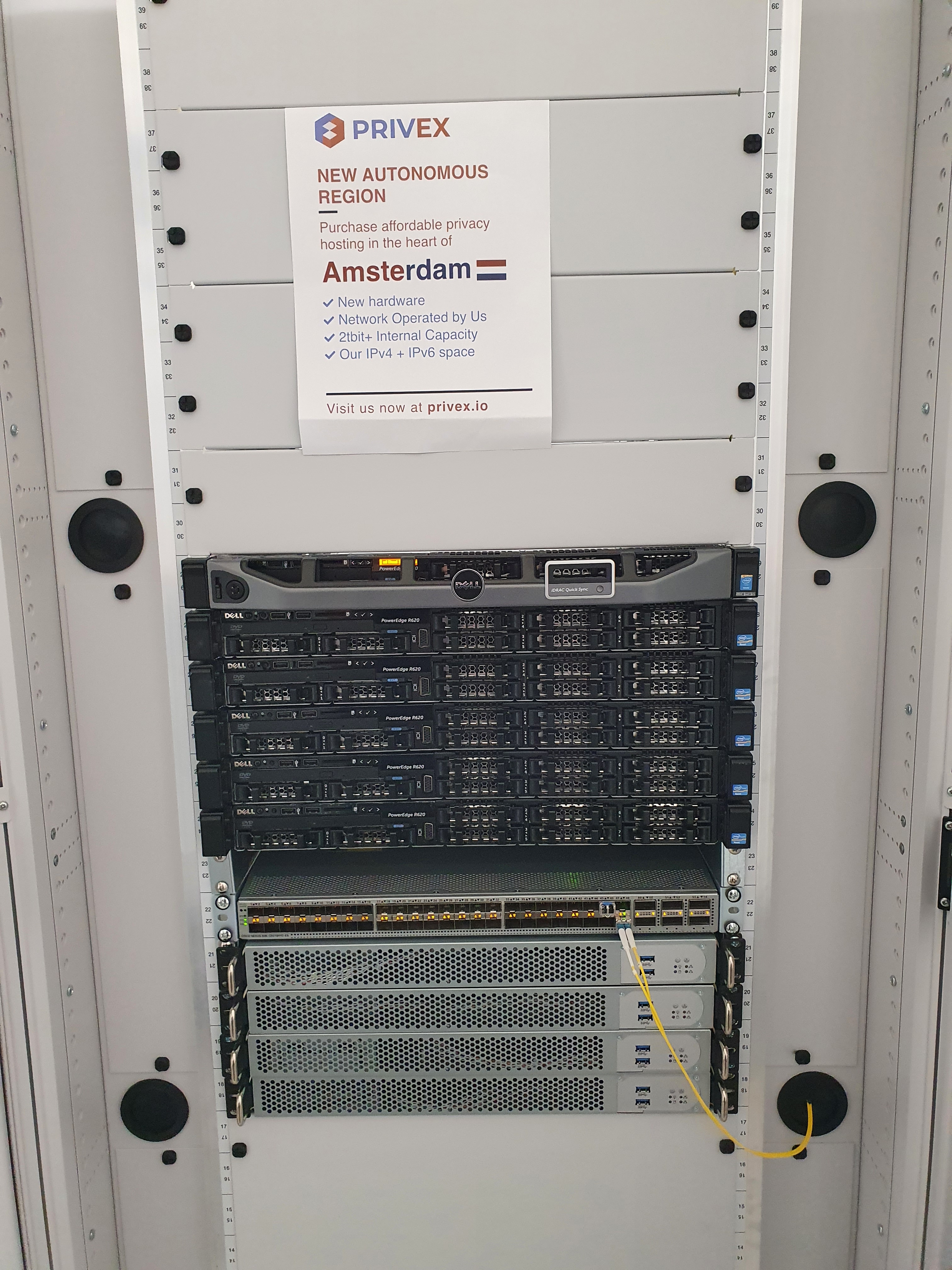 Front Photo of Privex's server rack in Amsterdam, Netherlands - 27 July 2021