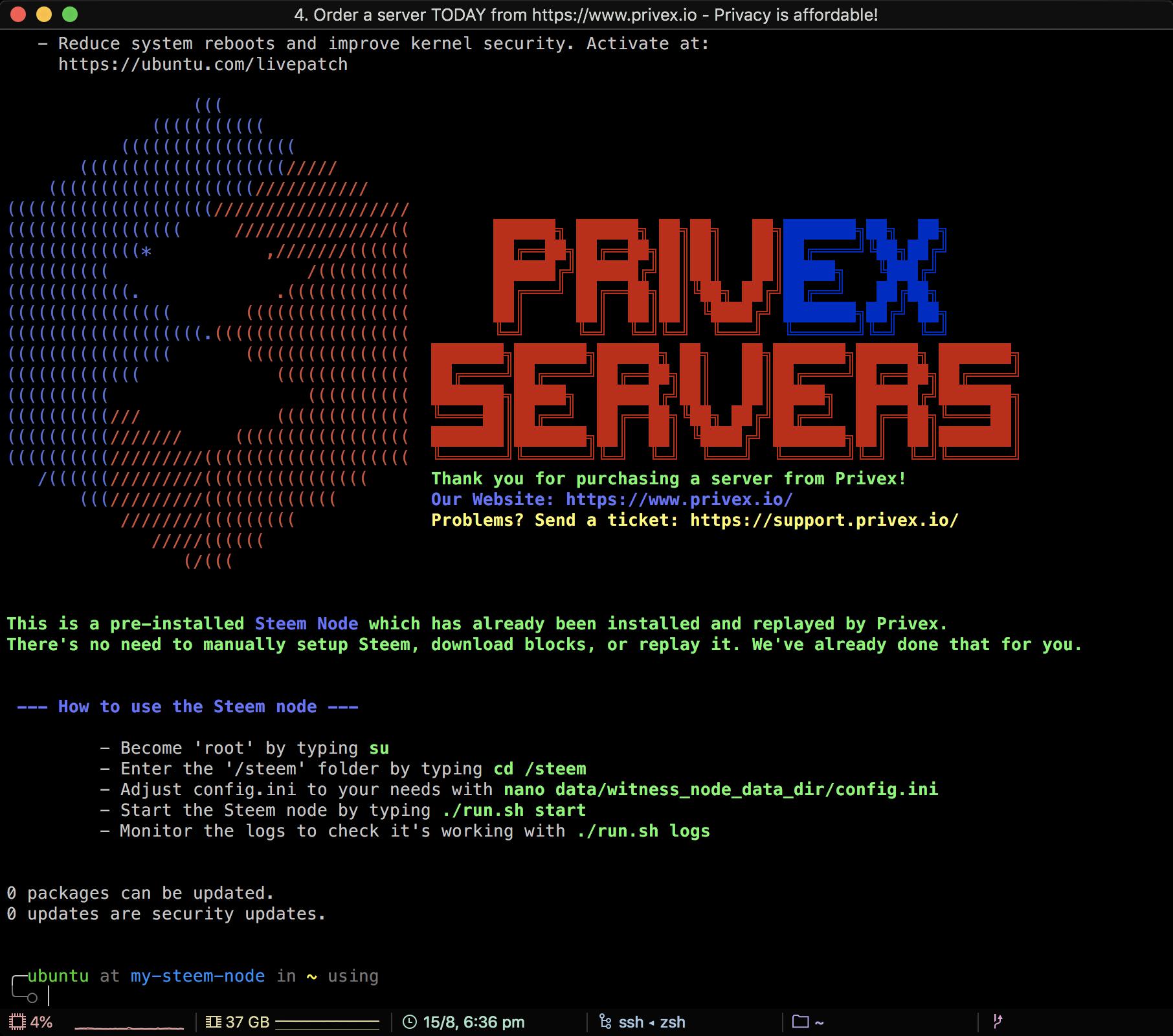 Screenshot of Privex MOTD