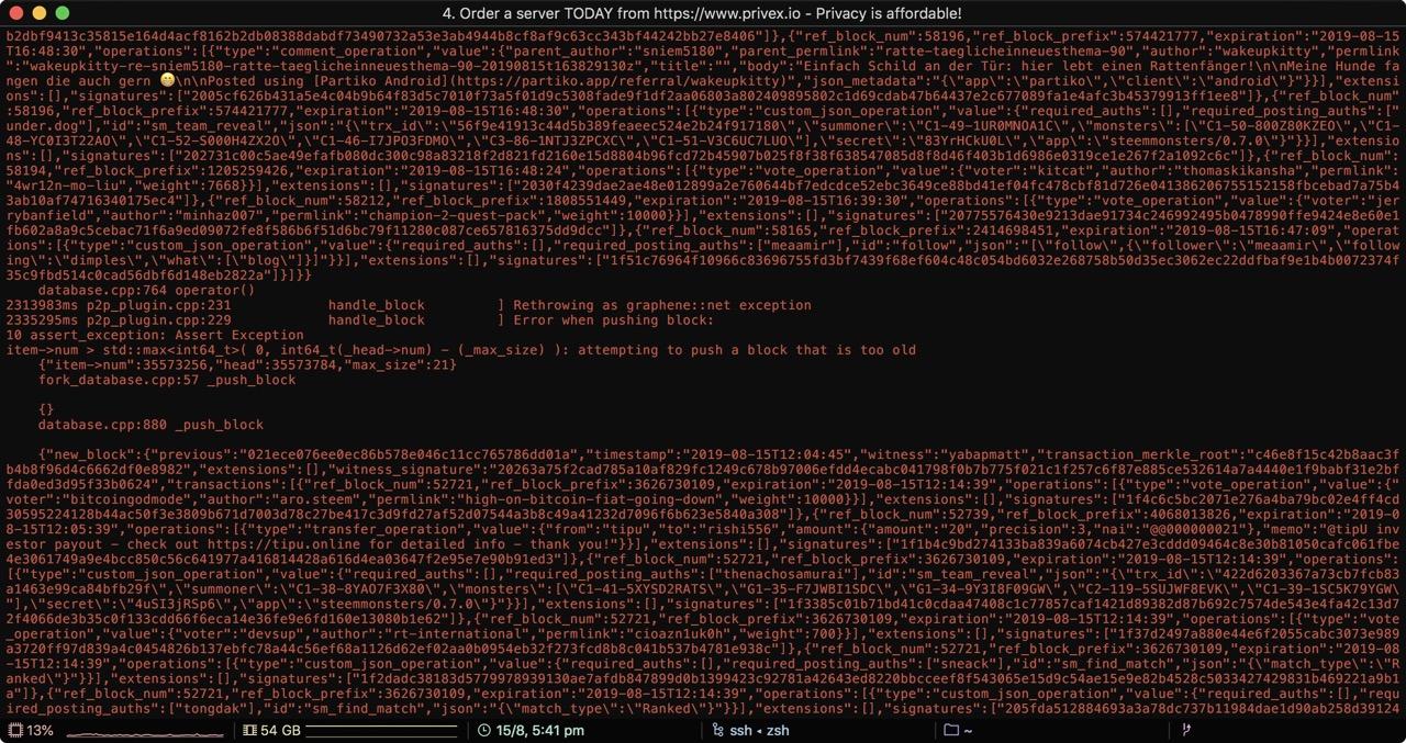 Screenshot of errors during sync